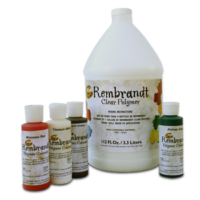 Kemiko Rembrandt Polymer Stain Four 4oz Bottle and Clear Polymer Base One Gallon Bottle