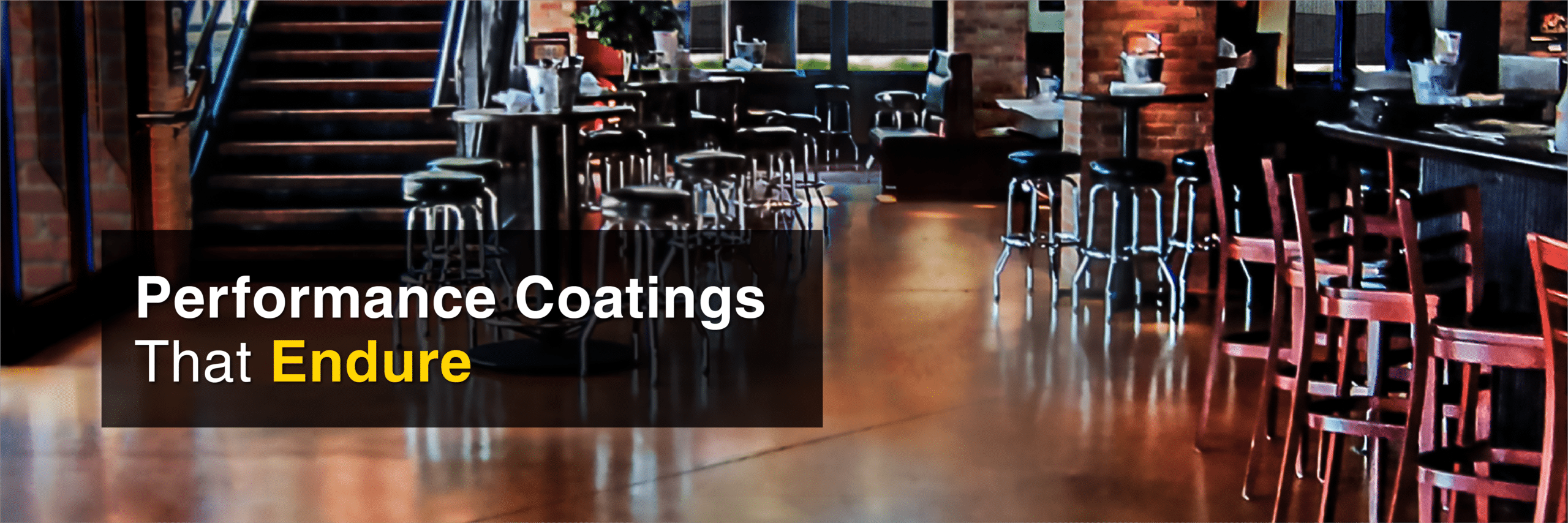 Pub with concrete acid stain and tag line: Performance Coatings That Endure. Kemiko Is Decorative Concrete Made Easy.